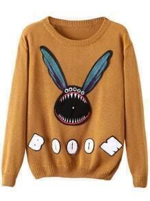 Yellow Round Neck Cartoon Print Knit Sweater