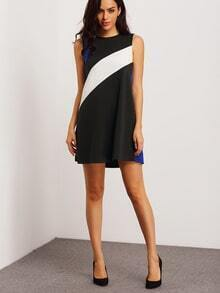 Black Sleeveless Color Block Dress