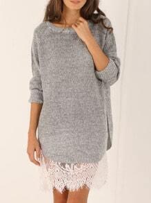 Grey Round Neck Split Sweater