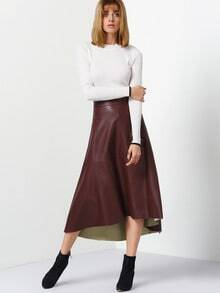 Burgundy PU Leather High Low Skirt
