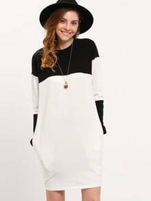 White Black Round Neck Color Block Dress