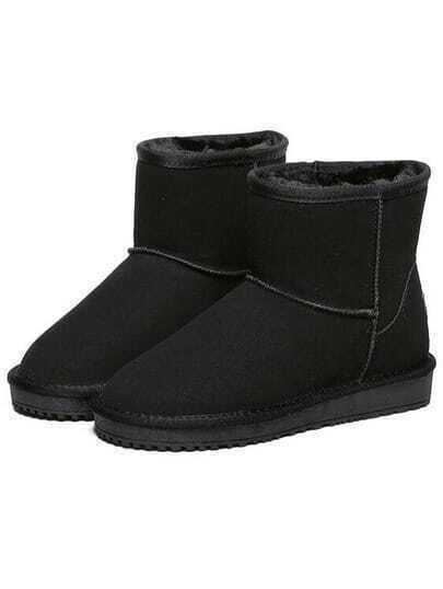 Black Round Toe Thicken Boots
