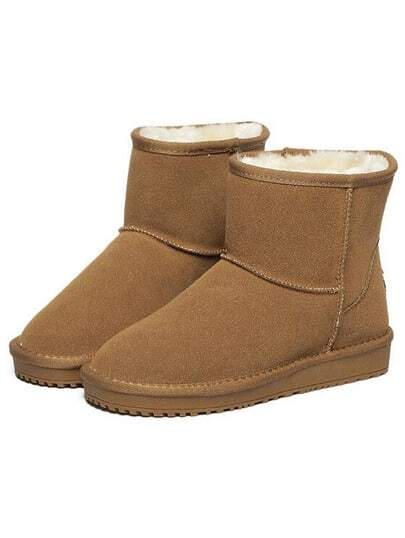 Camel Round Toe Thicken Boots