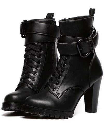 Black High Heel Buckle Strap PU Boots
