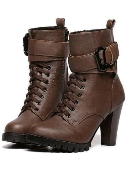 Camel High Heel Buckle Strap PU Boots