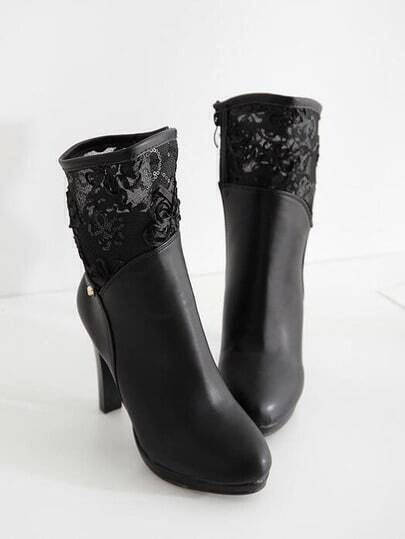 Black High Heel Lace PU Boots