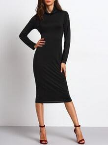 Black Turtleneck Long Sleeve Sheath Dress