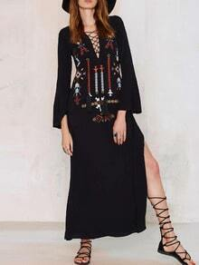 Black Bell Sleeve Embroidered Slit Maxi Dress