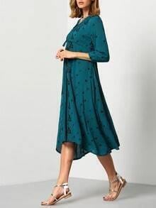 Green Deep V Neck Embroidered Shift Dress