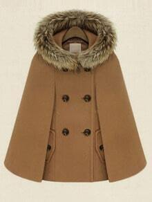Camel Hooded Double Breasted Pockets Cape Coat