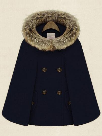 Navy Hooded Double Breasted Pockets Cape Coat