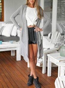 Grey Drape Front Long Coat
