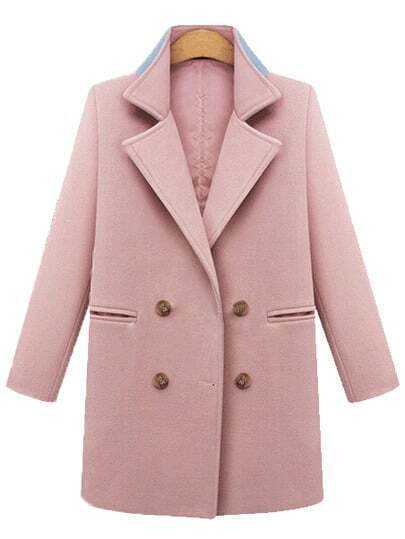 Pink Lapel Double Breasted Pockets Straight Coat