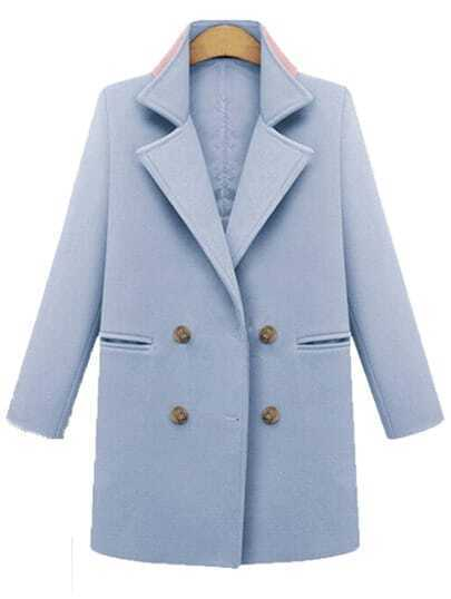 Blue Lapel Double Breasted Pockets Straight Coat