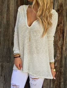 Apricot Hooded Long Sleeve Sweater