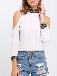 White Cold Shoulder Sequined Chiffon Blouse