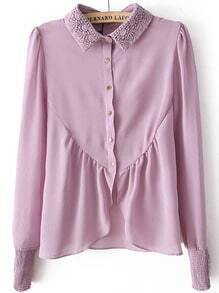 Purple Lace Crochet Buttons Asymmetrical Chiffon Blouse