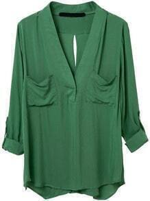 Green V Neck Pockets Blouse