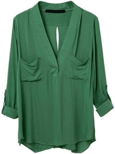 Green V Neck Pockets Blouse