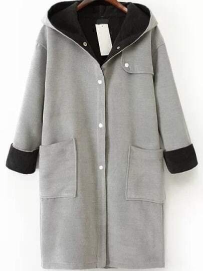 Grey Hooded Pockets Buttons Long Coat
