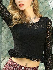 Black Long Sleeve Ruffle Lace Blouse