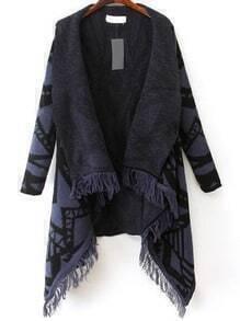 Blue Geometric Print Tassel Long Coat