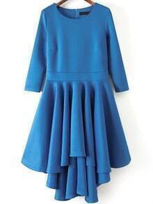 Blue Round Neck High Low Flare Dress