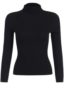 Black Mock Neck Slim Crop Knitwear