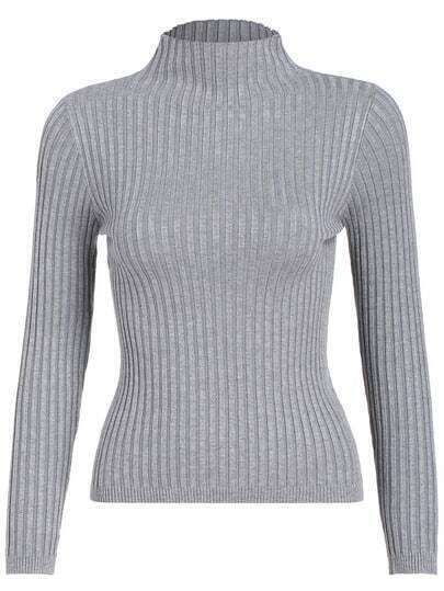 Grey Mock Neck Slim Crop Knitwear