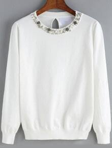 White Round Neck Bead Knitwear