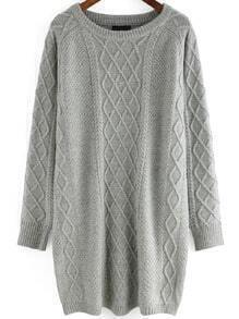 Grey Round Neck Diamond Patterned Knit Sweater