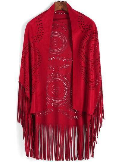Red Hollow Carving Tassel Scarve