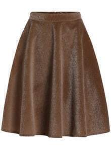 Khaki High Waist Midi Skirt