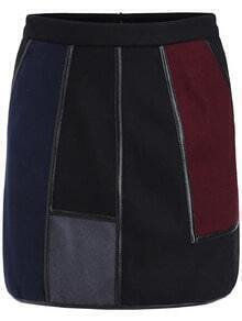 Multicolor Contrast PU Leather Skirt