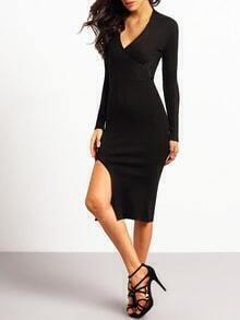 Black V Neck Slim Split Knit Dress