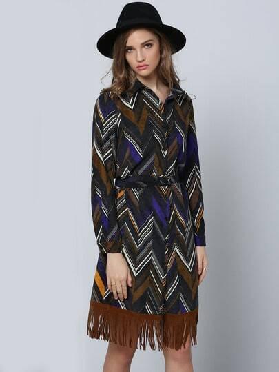 Multicolor Geometric Print Tassel Shirt Dress