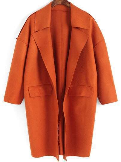 Orange Lapel Long Sleeve Loose Coat