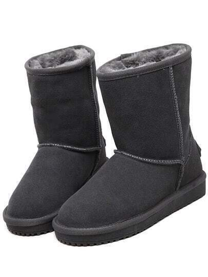 Grey Thick-soled Round Toe Boots