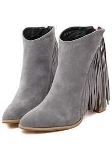 Grey Chunky High Heel Tassel Boots