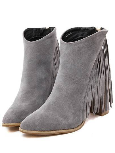 Grey Chunky High Heel Tassel Boots