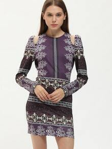 Purple Long Sleeve Backless Vintage Print Dress