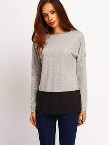 Grey Black Round Neck Color Block T-Shirt
