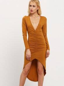 Brown Long Sleeve Asymmetric Dress