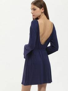 Navy Long Sleeve Backless Dress