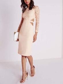 Nude Long Sleeve With Lace Dress