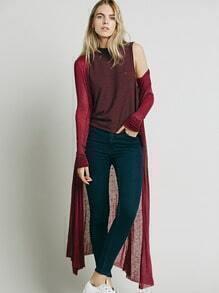 Burgundy Long Sleeve Thin Coat