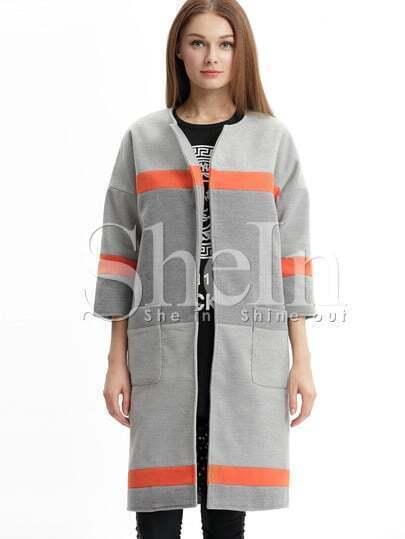 Grey Color Block Pockets Coat
