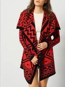 Red Long Sleeve Lapel Geometric Print Sweater