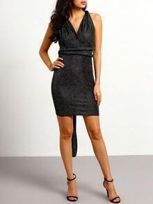 Black Backless Sequined Dress