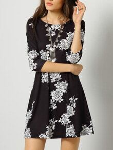 Black Round Neck Floral Dress